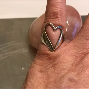 Vintage Sterling Silver 925 Open Heart Ring 6 1/2